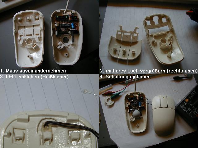 Elektronik.de.vu - Einbau einer Kontroll-LED in eine PC-Maus