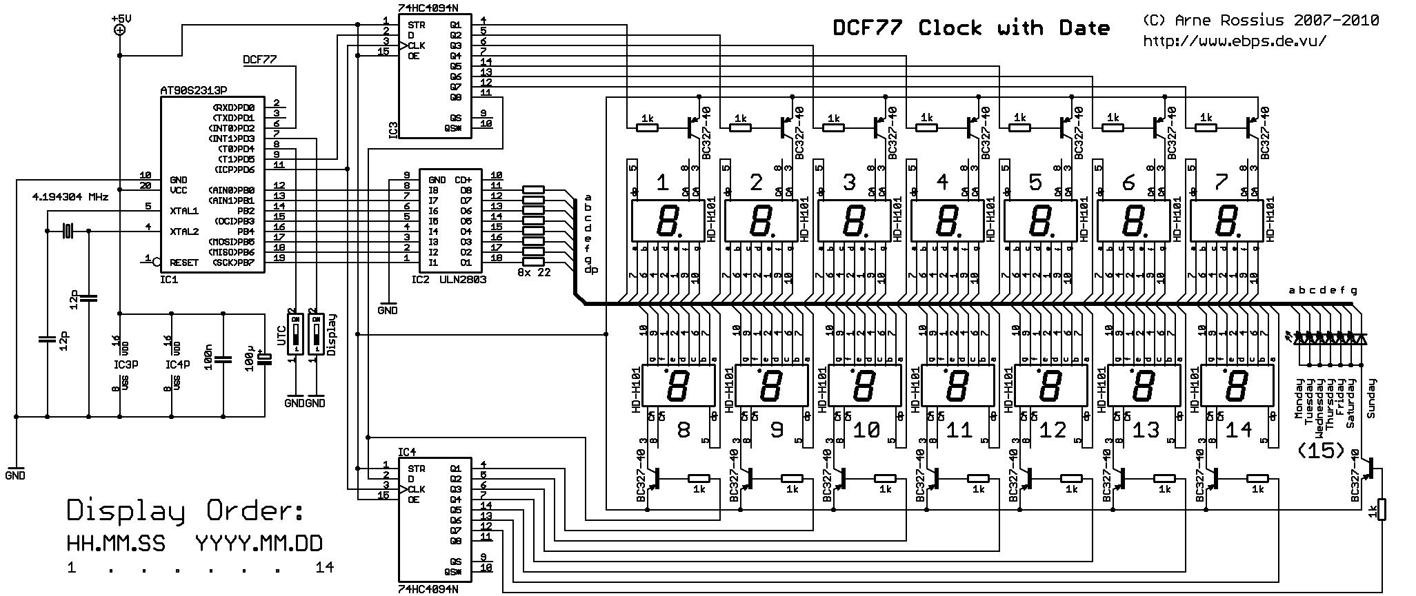 Elektronik.de.vu - DCF77-Funkuhr mit Datums- und Uhrzeitanzeige auf ...