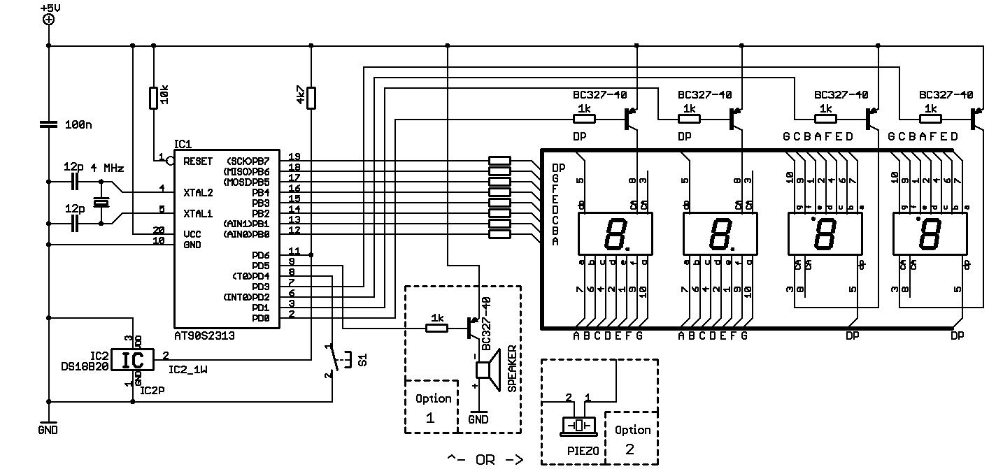 Elektronik.de.vu - Thermometer mit DS18B20-Sensor und flackerfreiem ...