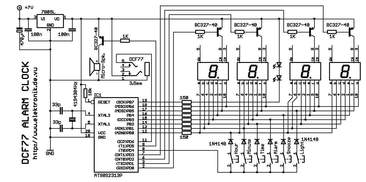 Elektronik.de.vu - Einfacher DCF77-Wecker mit LED-Anzeige und Snooze ...