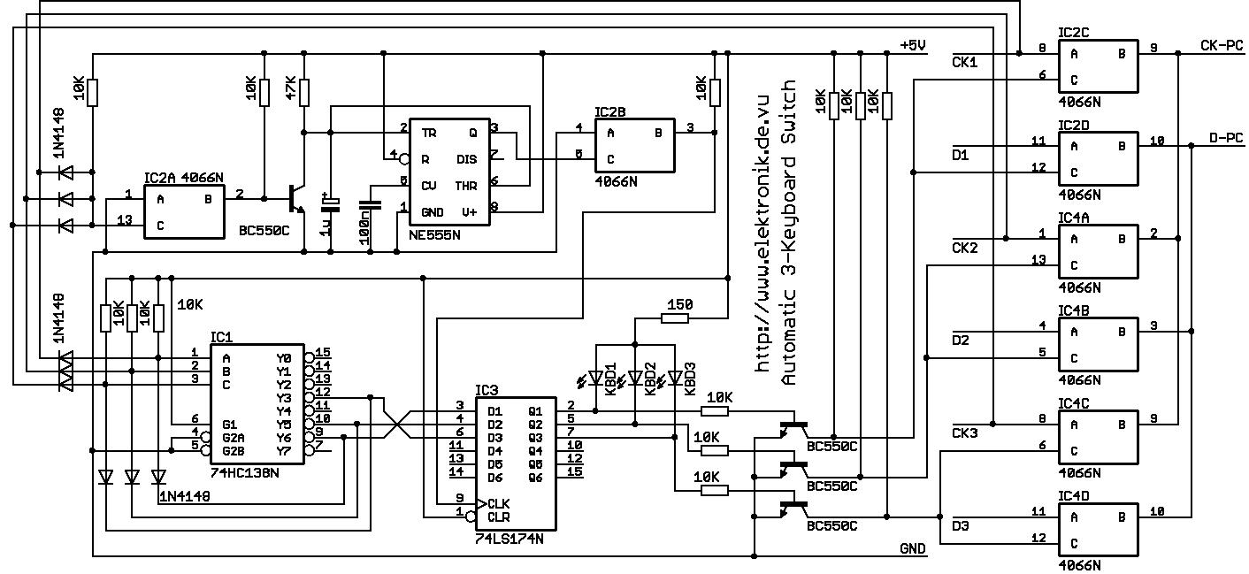 Elektronik.de.vu - automatischer Umschalter für 3 Tastaturen an einem PC