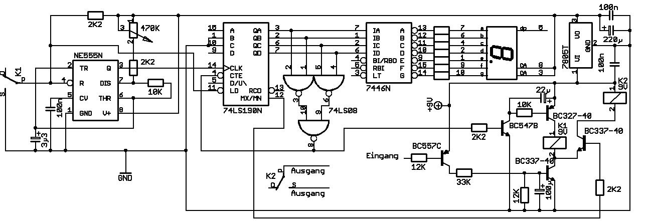 Elektronik.de.vu - Countdown von 9 bis 0 mit Schaltausgang