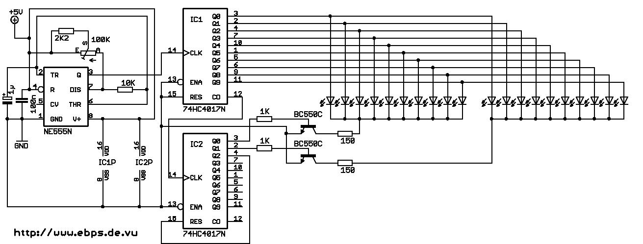 Elektronik.de.vu - Lauflicht mit bis zu 100 LEDs und nur wenigen ...