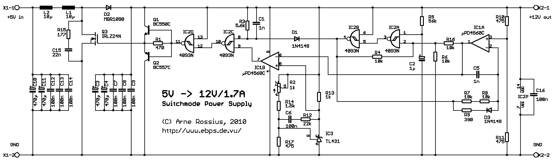 Elektronik.de.vu - Schaltnetzteil mit 5V-Eingang und 12V/1,7A-Ausgang